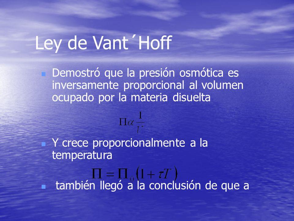 Ley de Vant´Hoff Demostró que la presión osmótica es inversamente proporcional al volumen ocupado por la materia disuelta.