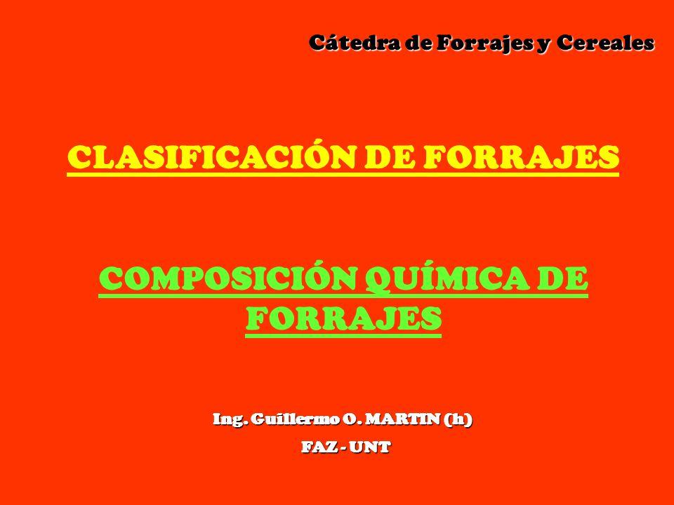 CLASIFICACIÓN DE FORRAJES COMPOSICIÓN QUÍMICA DE FORRAJES