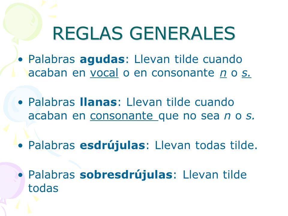 REGLAS GENERALES Palabras agudas: Llevan tilde cuando acaban en vocal o en consonante n o s.
