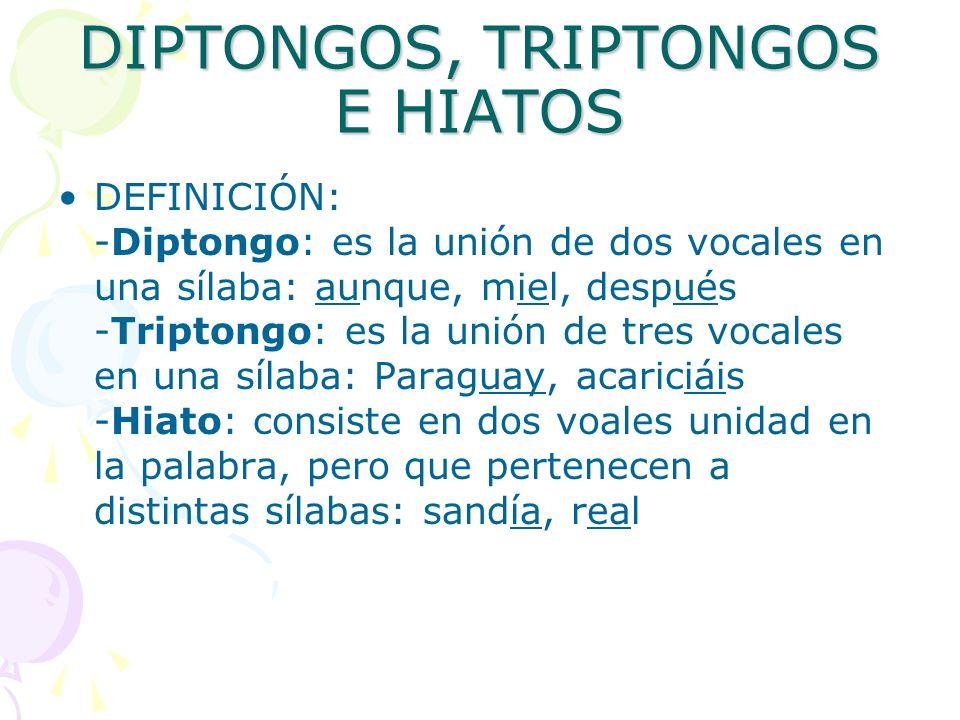 DIPTONGOS, TRIPTONGOS E HIATOS