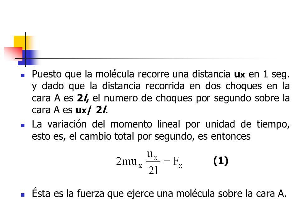 Puesto que la molécula recorre una distancia ux en 1 seg