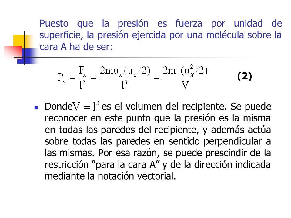 Puesto que la presión es fuerza por unidad de superficie, la presión ejercida por una molécula sobre la cara A ha de ser: