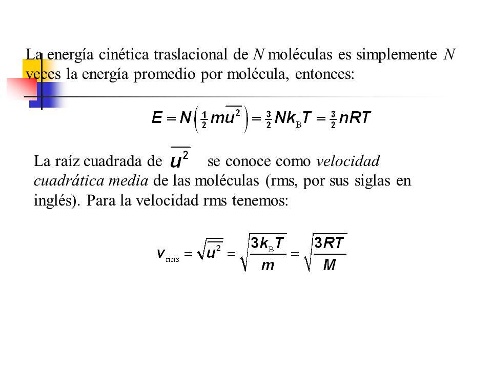 La energía cinética traslacional de N moléculas es simplemente N veces la energía promedio por molécula, entonces: