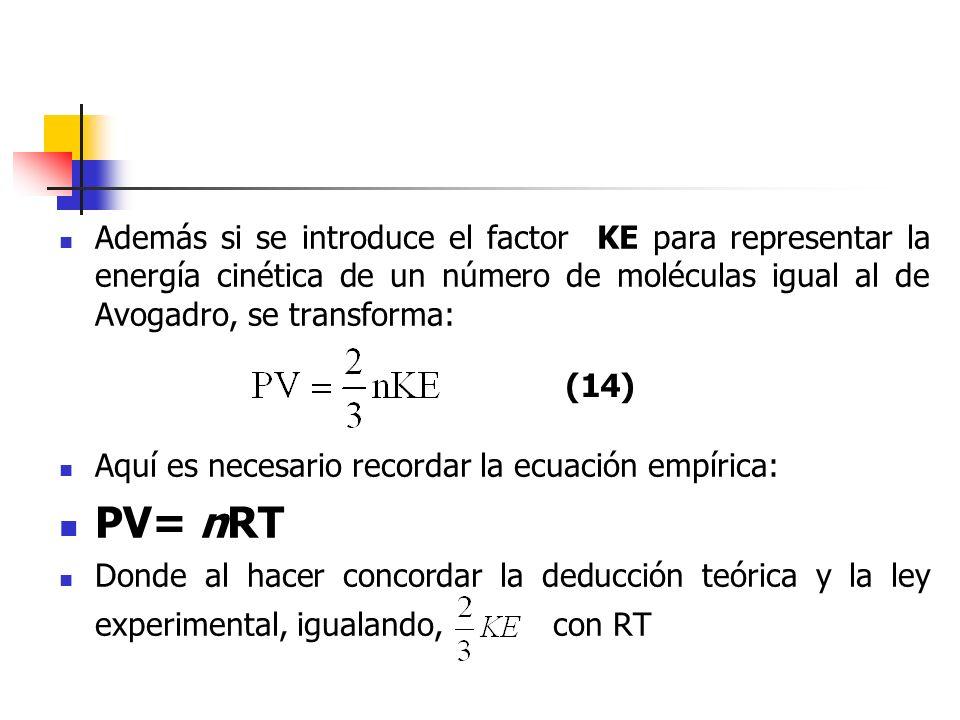 Además si se introduce el factor KE para representar la energía cinética de un número de moléculas igual al de Avogadro, se transforma: