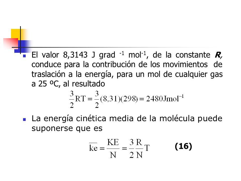 El valor 8,3143 J grad -1 mol-1, de la constante R, conduce para la contribución de los movimientos de traslación a la energía, para un mol de cualquier gas a 25 ºC, al resultado