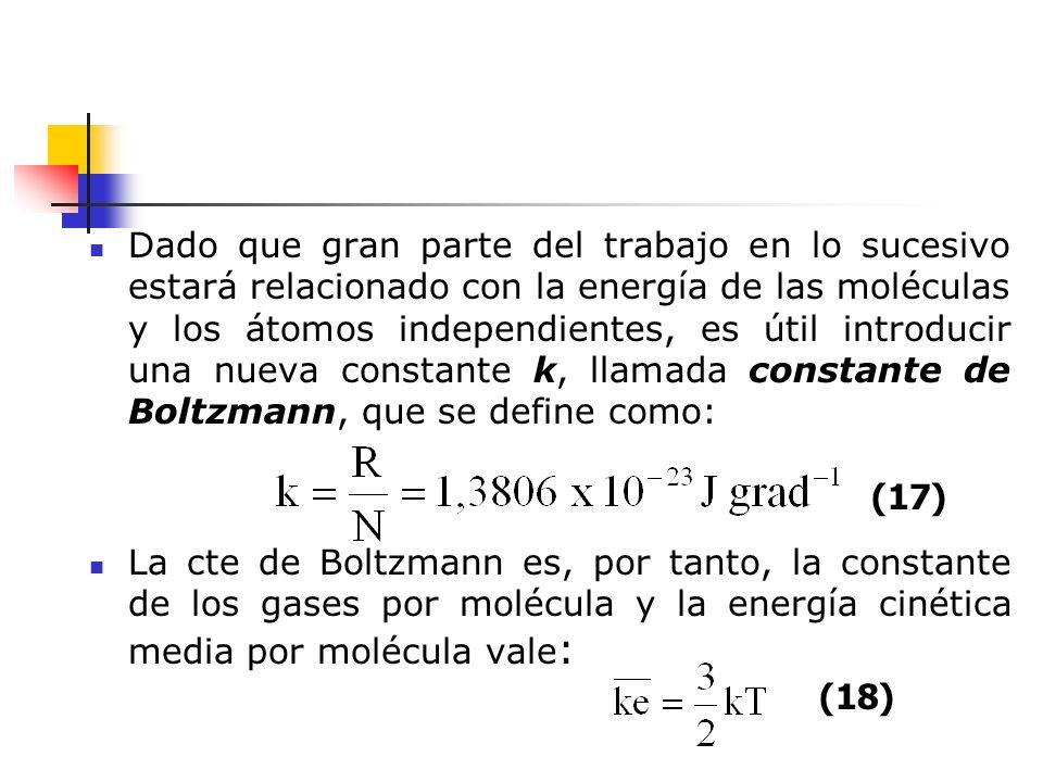 Dado que gran parte del trabajo en lo sucesivo estará relacionado con la energía de las moléculas y los átomos independientes, es útil introducir una nueva constante k, llamada constante de Boltzmann, que se define como: