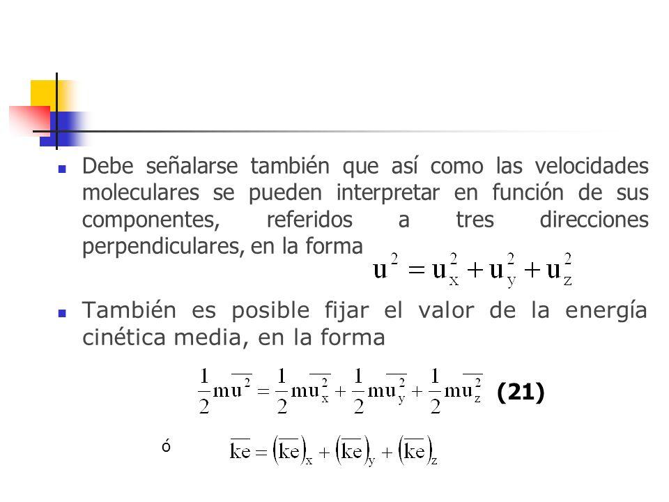 Debe señalarse también que así como las velocidades moleculares se pueden interpretar en función de sus componentes, referidos a tres direcciones perpendiculares, en la forma
