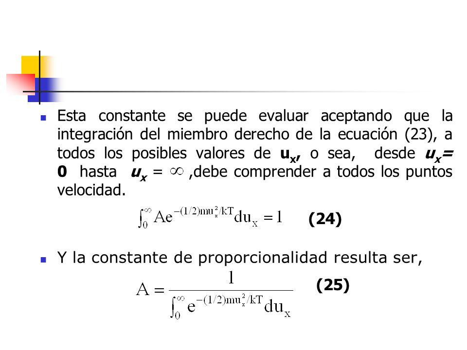 Esta constante se puede evaluar aceptando que la integración del miembro derecho de la ecuación (23), a todos los posibles valores de ux, o sea, desde ux= 0 hasta ux = ,debe comprender a todos los puntos velocidad.