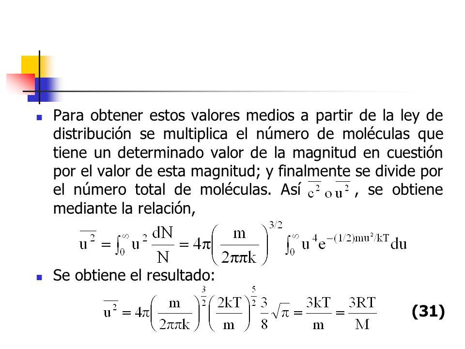 Para obtener estos valores medios a partir de la ley de distribución se multiplica el número de moléculas que tiene un determinado valor de la magnitud en cuestión por el valor de esta magnitud; y finalmente se divide por el número total de moléculas. Así , se obtiene mediante la relación,