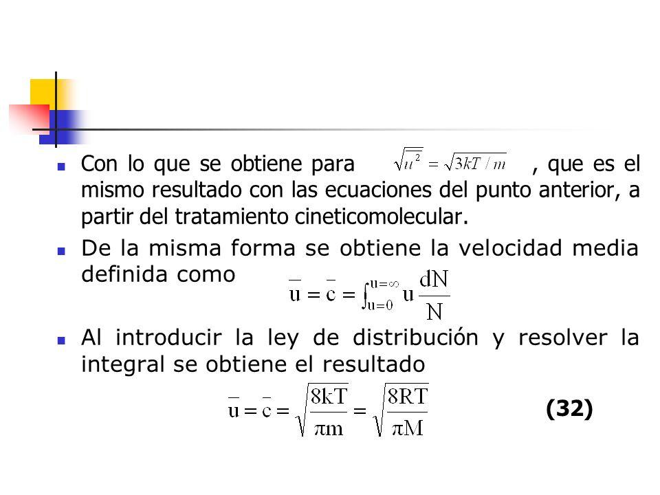 Con lo que se obtiene para , que es el mismo resultado con las ecuaciones del punto anterior, a partir del tratamiento cineticomolecular.