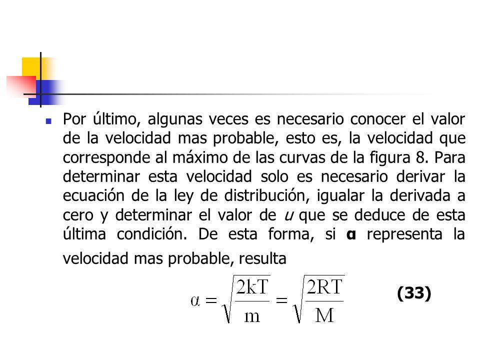 Por último, algunas veces es necesario conocer el valor de la velocidad mas probable, esto es, la velocidad que corresponde al máximo de las curvas de la figura 8. Para determinar esta velocidad solo es necesario derivar la ecuación de la ley de distribución, igualar la derivada a cero y determinar el valor de u que se deduce de esta última condición. De esta forma, si α representa la velocidad mas probable, resulta