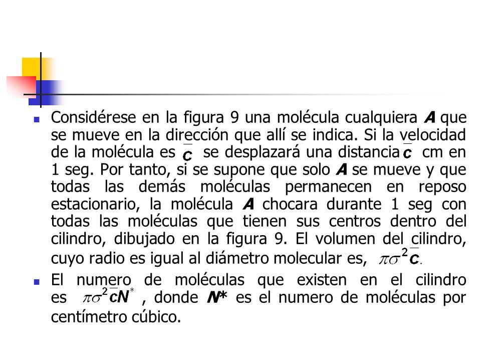 Considérese en la figura 9 una molécula cualquiera A que se mueve en la dirección que allí se indica. Si la velocidad de la molécula es se desplazará una distancia cm en 1 seg. Por tanto, si se supone que solo A se mueve y que todas las demás moléculas permanecen en reposo estacionario, la molécula A chocara durante 1 seg con todas las moléculas que tienen sus centros dentro del cilindro, dibujado en la figura 9. El volumen del cilindro, cuyo radio es igual al diámetro molecular es,