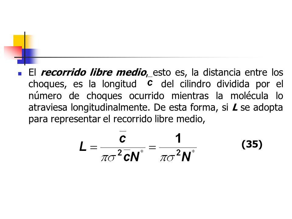 El recorrido libre medio, esto es, la distancia entre los choques, es la longitud del cilindro dividida por el número de choques ocurrido mientras la molécula lo atraviesa longitudinalmente. De esta forma, si L se adopta para representar el recorrido libre medio,