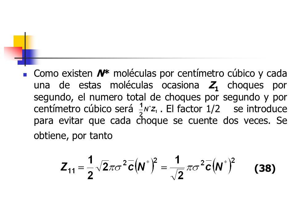 Como existen N* moléculas por centímetro cúbico y cada una de estas moléculas ocasiona Z1 choques por segundo, el numero total de choques por segundo y por centímetro cúbico será . El factor 1/2 se introduce para evitar que cada choque se cuente dos veces. Se obtiene, por tanto
