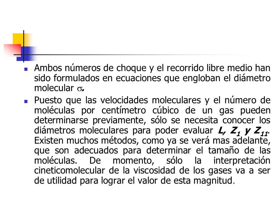 Ambos números de choque y el recorrido libre medio han sido formulados en ecuaciones que engloban el diámetro molecular .