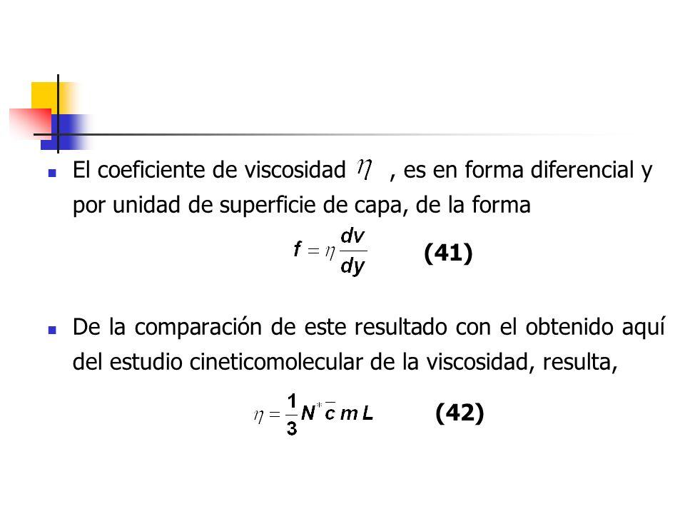 El coeficiente de viscosidad , es en forma diferencial y por unidad de superficie de capa, de la forma