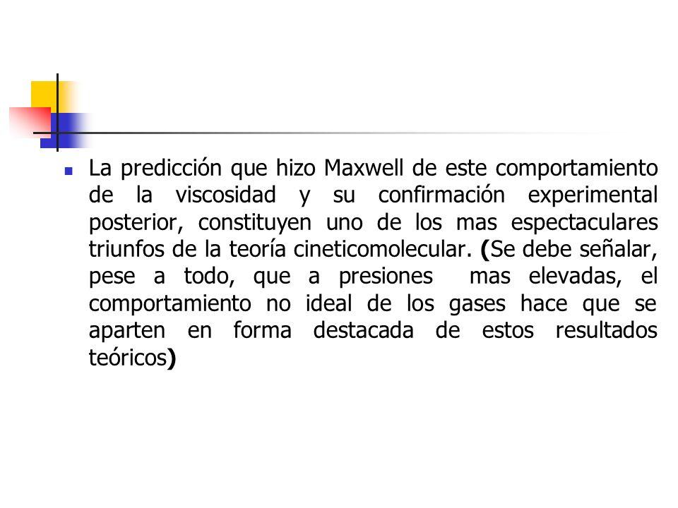 La predicción que hizo Maxwell de este comportamiento de la viscosidad y su confirmación experimental posterior, constituyen uno de los mas espectaculares triunfos de la teoría cineticomolecular.