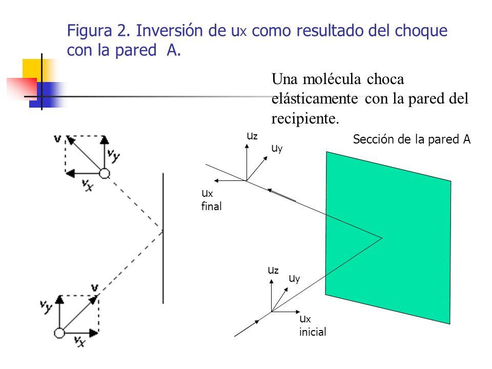 Figura 2. Inversión de ux como resultado del choque con la pared A.