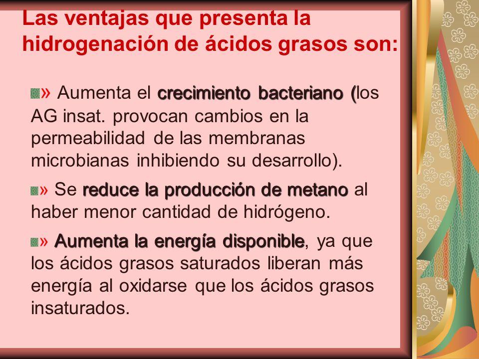 Las ventajas que presenta la hidrogenación de ácidos grasos son: