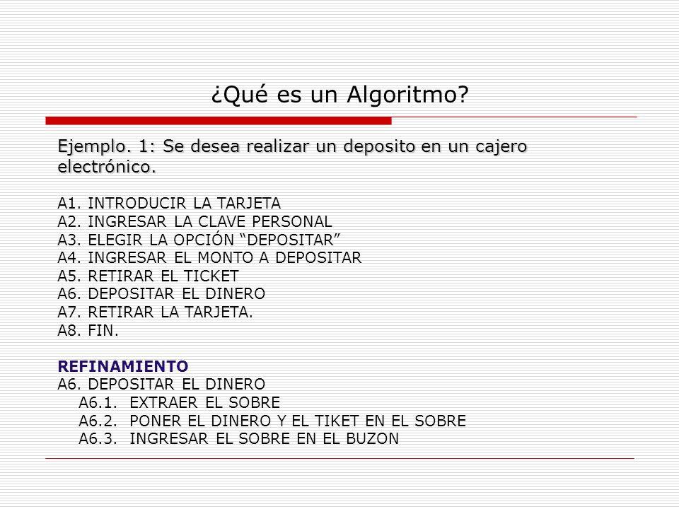 ¿Qué es un Algoritmo Ejemplo. 1: Se desea realizar un deposito en un cajero electrónico. A1. INTRODUCIR LA TARJETA.