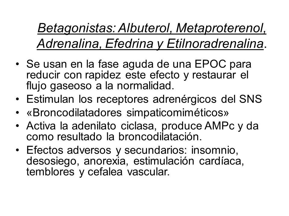 Betagonistas: Albuterol, Metaproterenol, Adrenalina, Efedrina y Etilnoradrenalina.