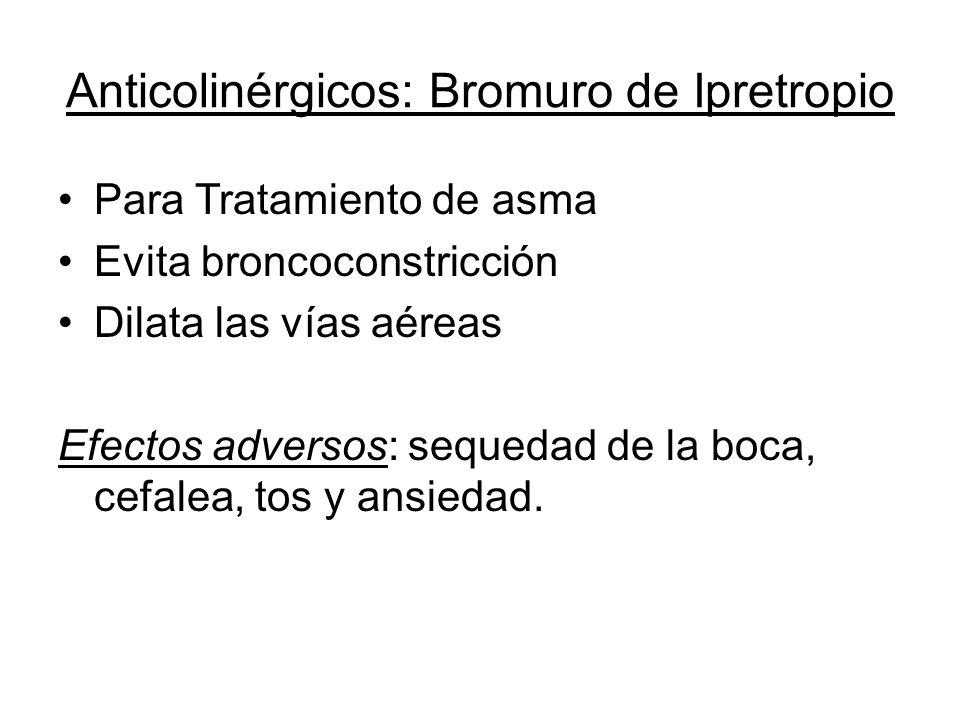 Anticolinérgicos: Bromuro de Ipretropio