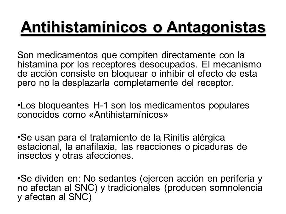 Antihistamínicos o Antagonistas