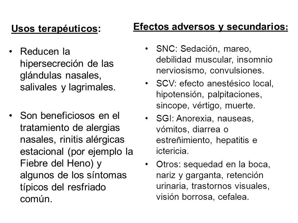 Efectos adversos y secundarios: