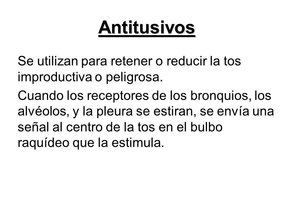 AntitusivosSe utilizan para retener o reducir la tos improductiva o peligrosa.