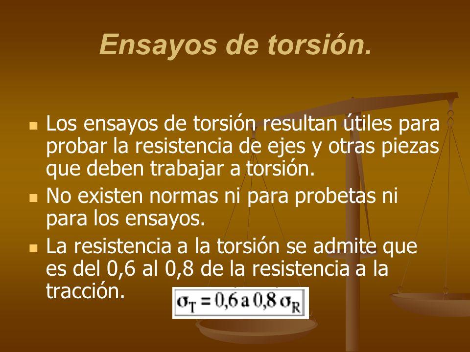 Ensayos de torsión.Los ensayos de torsión resultan útiles para probar la resistencia de ejes y otras piezas que deben trabajar a torsión.