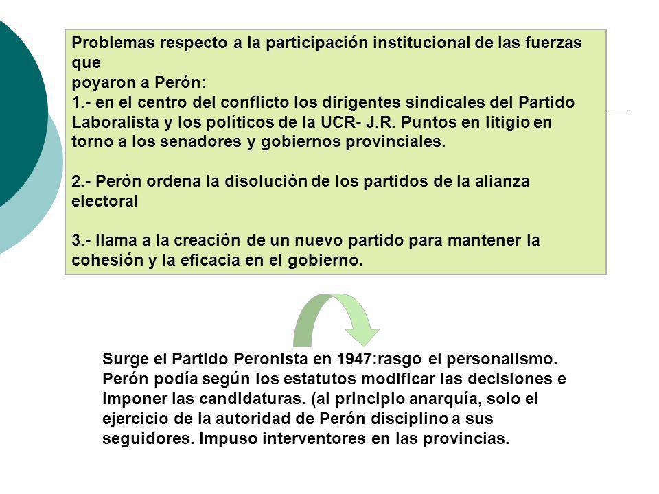 Problemas respecto a la participación institucional de las fuerzas que
