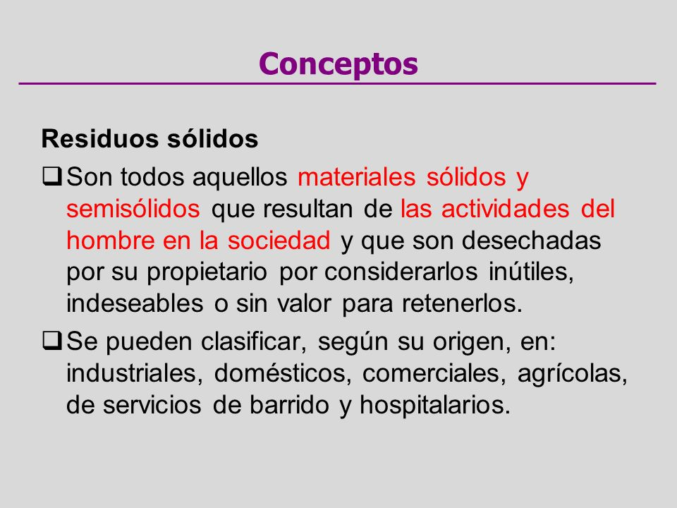 Conceptos Residuos sólidos