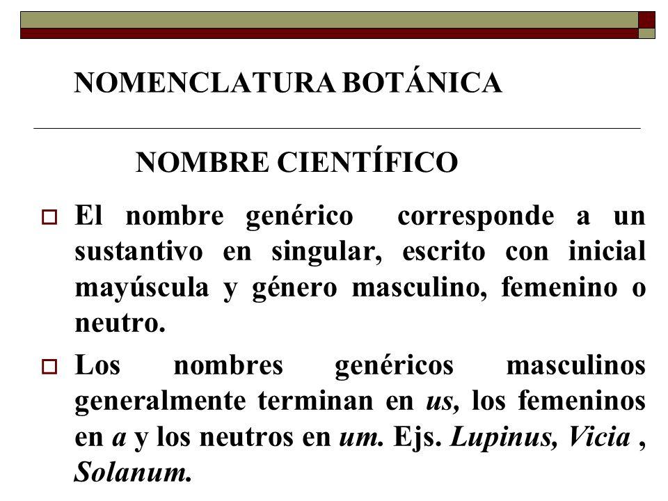 NOMENCLATURA BOTÁNICA