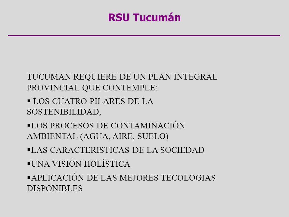 RSU Tucumán TUCUMAN REQUIERE DE UN PLAN INTEGRAL PROVINCIAL QUE CONTEMPLE: LOS CUATRO PILARES DE LA SOSTENIBILIDAD,