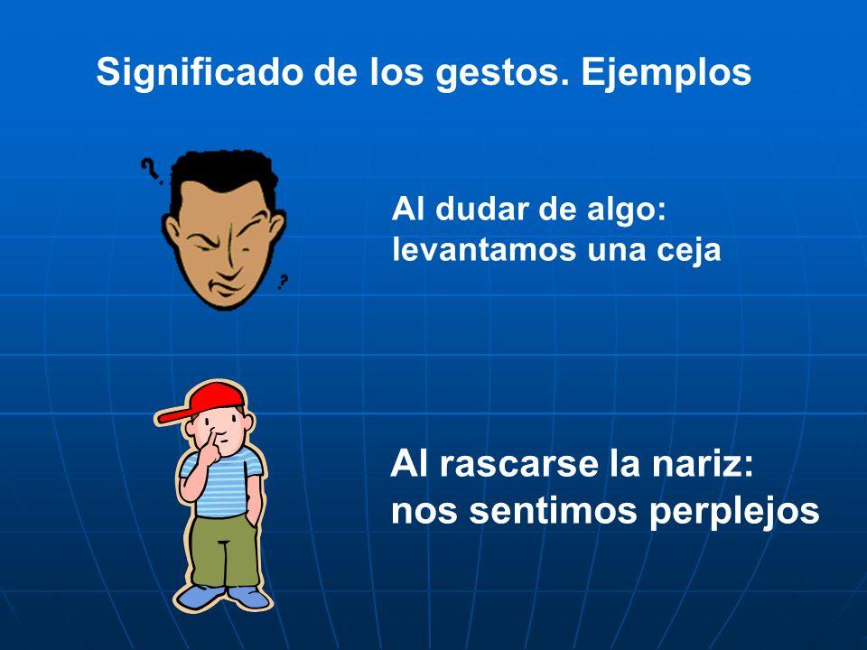 Significado de los gestos. Ejemplos