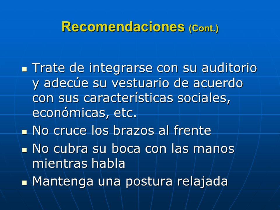 Recomendaciones (Cont.)