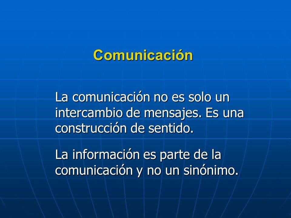 La información es parte de la comunicación y no un sinónimo.
