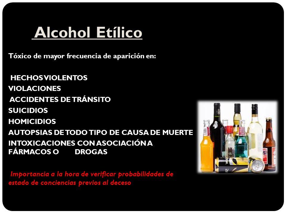 Alcohol Etílico Tóxico de mayor frecuencia de aparición en: