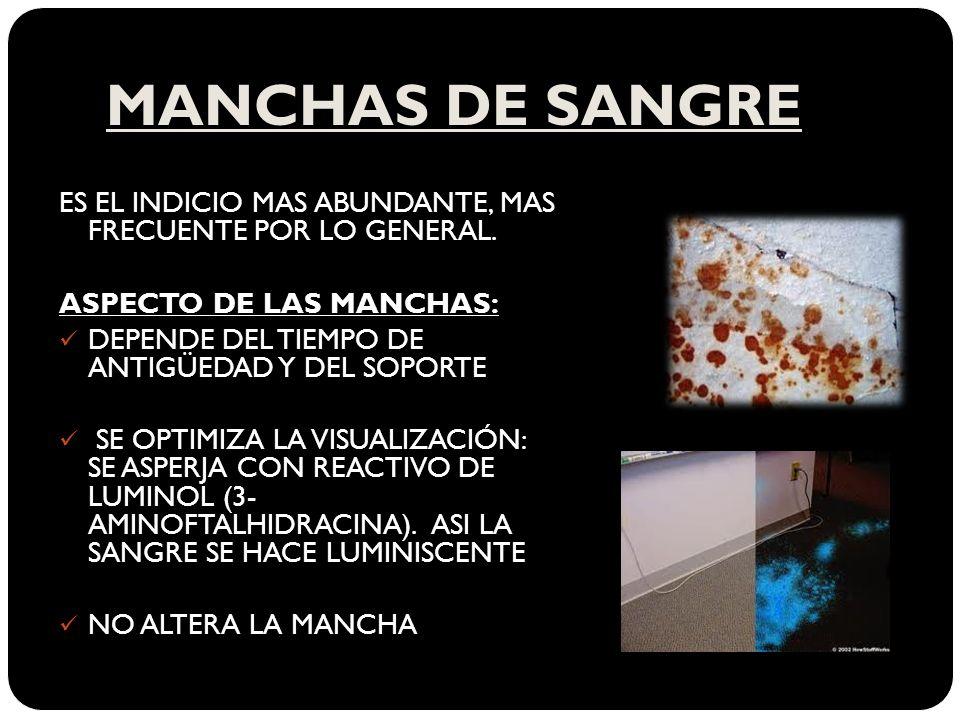 MANCHAS DE SANGREES EL INDICIO MAS ABUNDANTE, MAS FRECUENTE POR LO GENERAL. ASPECTO DE LAS MANCHAS: