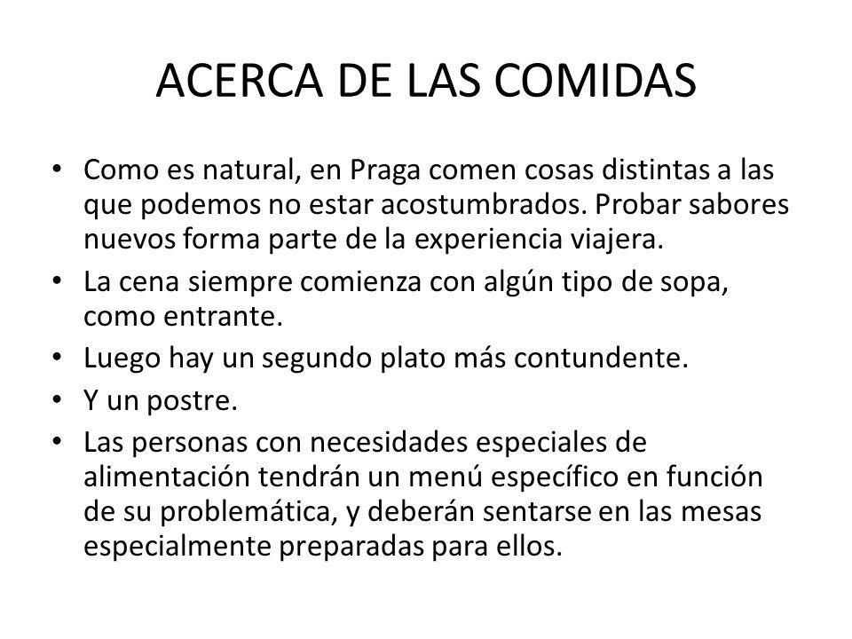 ACERCA DE LAS COMIDAS