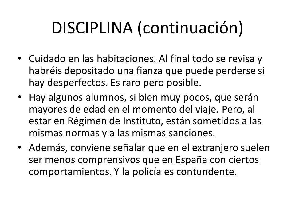 DISCIPLINA (continuación)