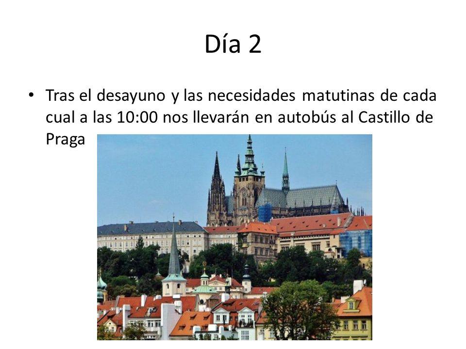 Día 2 Tras el desayuno y las necesidades matutinas de cada cual a las 10:00 nos llevarán en autobús al Castillo de Praga.