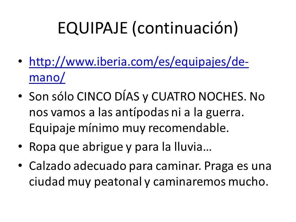 EQUIPAJE (continuación)