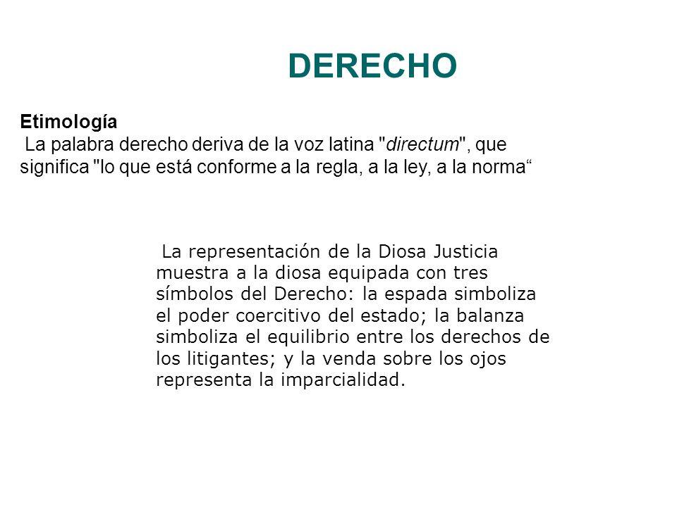 DERECHO Etimología La palabra derecho deriva de la voz latina directum , que significa lo que está conforme a la regla, a la ley, a la norma