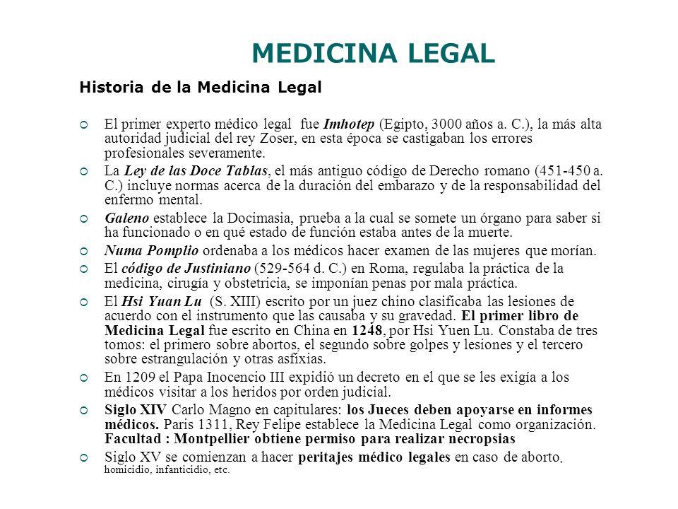 MEDICINA LEGAL Historia de la Medicina Legal