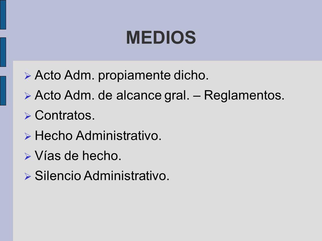 MEDIOS Acto Adm. propiamente dicho.