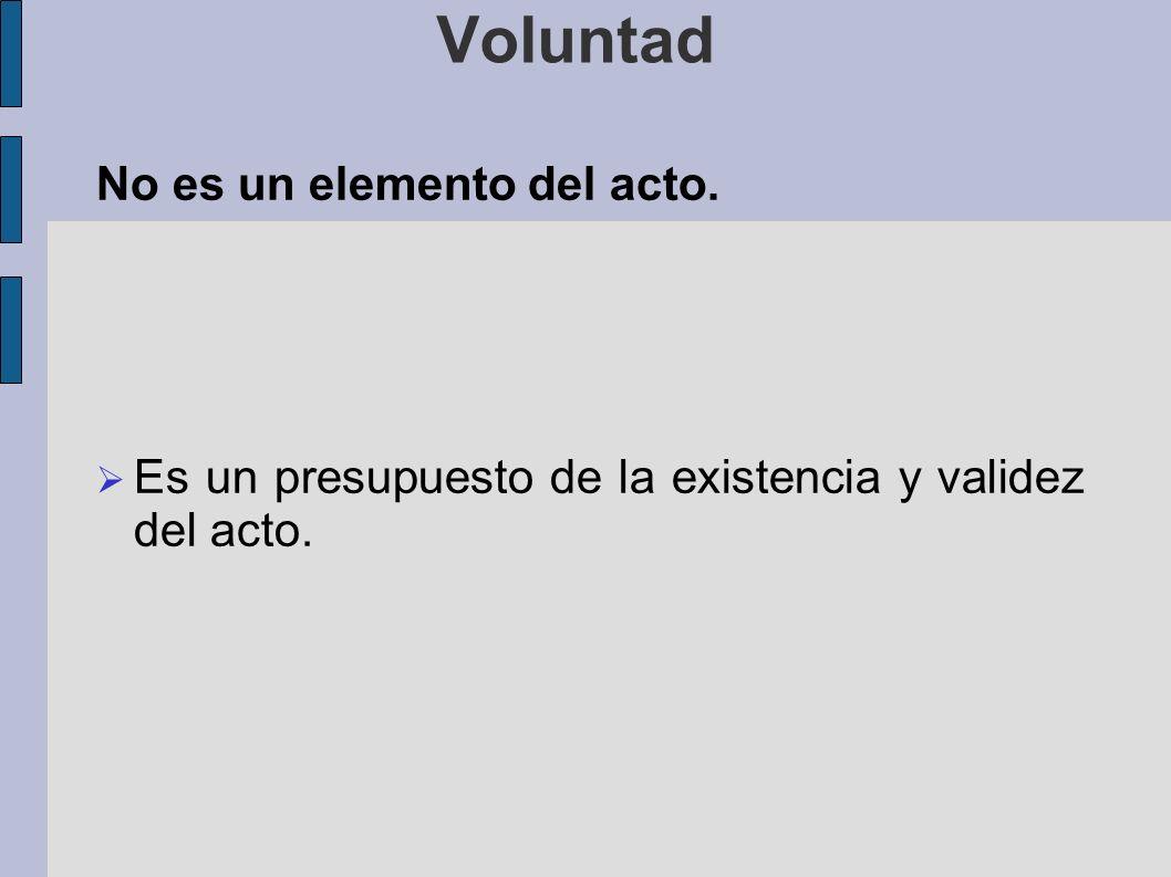 Voluntad No es un elemento del acto.