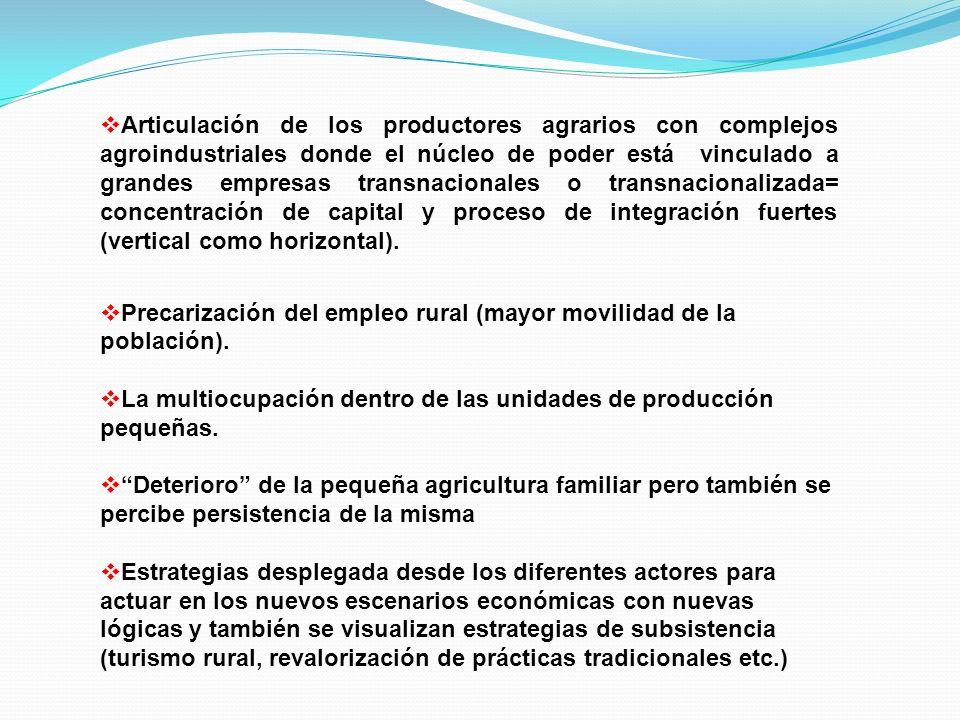 Articulación de los productores agrarios con complejos agroindustriales donde el núcleo de poder está vinculado a grandes empresas transnacionales o transnacionalizada= concentración de capital y proceso de integración fuertes (vertical como horizontal).