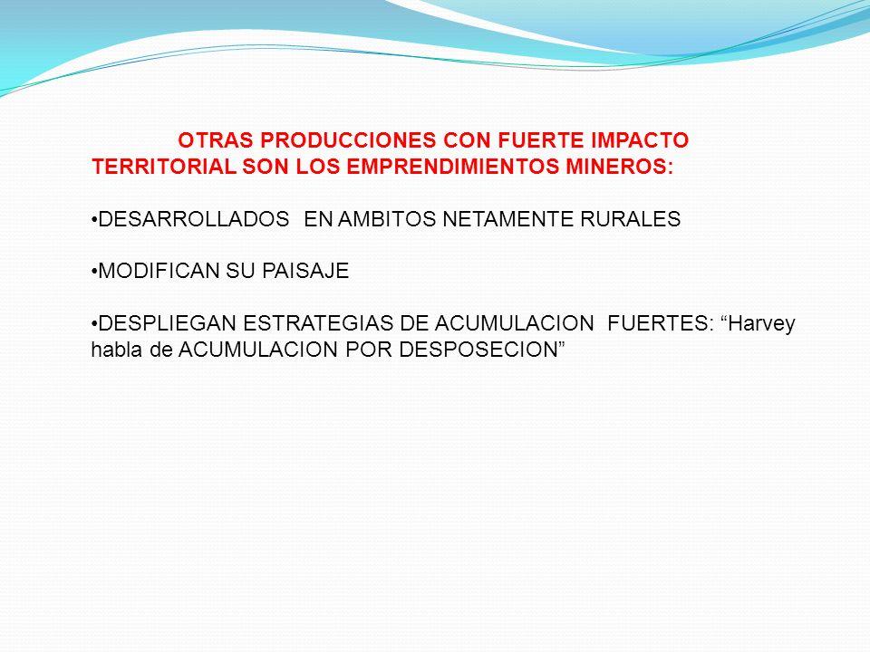 OTRAS PRODUCCIONES CON FUERTE IMPACTO TERRITORIAL SON LOS EMPRENDIMIENTOS MINEROS: