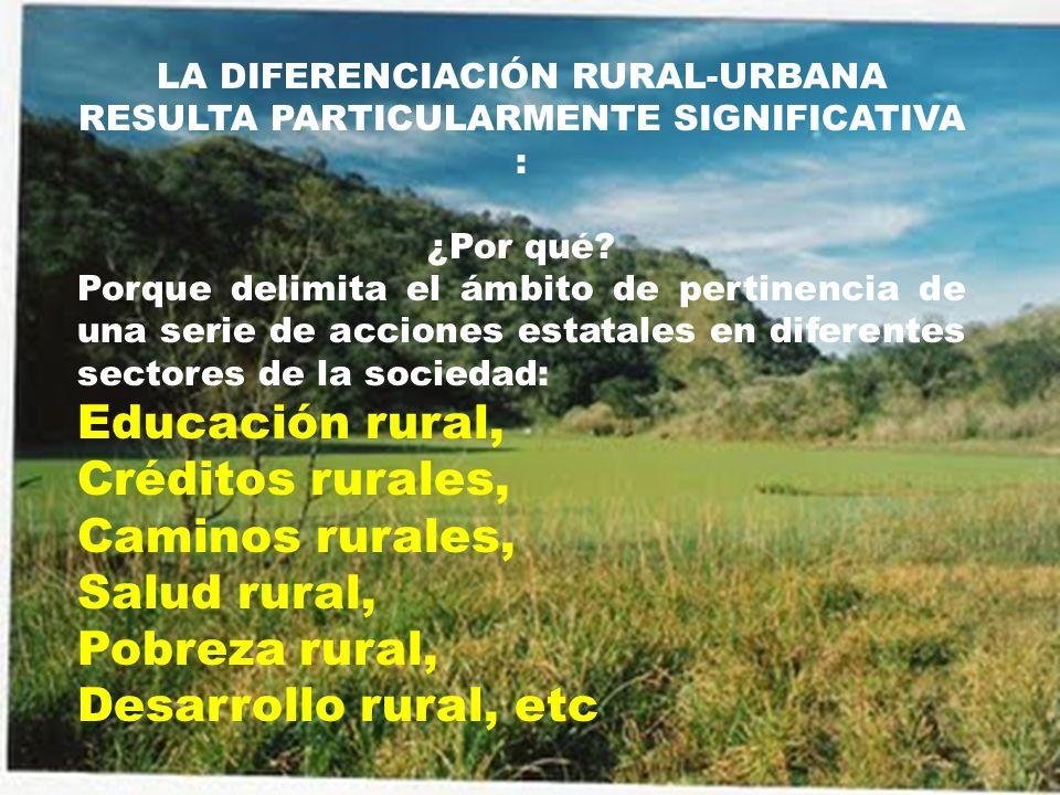 LA DIFERENCIACIÓN RURAL-URBANA RESULTA PARTICULARMENTE SIGNIFICATIVA :